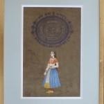 Peinture indienne - passe partout biseauté, ss carte doré, biseau blanc