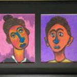 Pastels portraits - encadrement multiple et biseau de plusieurs couleurs