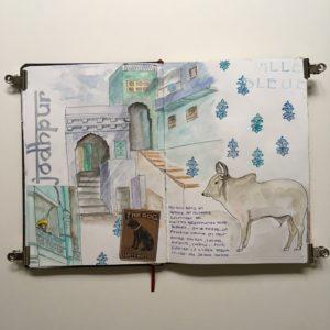 carnet de voyage inde rajasthan sketchbook ville bleue jodhpur