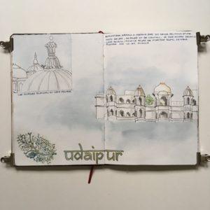 carnet de voyage inde rajasthan sketchbook city palace udaipur