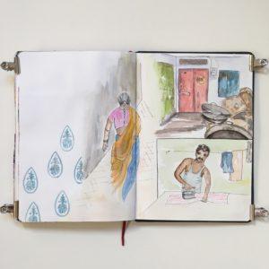carnet de voyage inde rajasthan sketchbook jodhpur -street